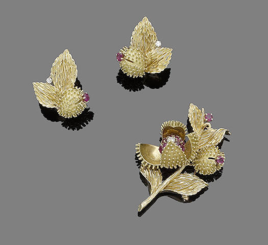 A ruby and diamond-set brooch and earclip suite, by Tiffany & Co., (2)