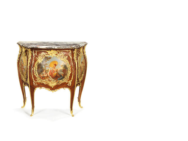 "A French late 19th century ormolu-mounted kingwood and vernis Martin commode ""aux quatre saisons""  by Francois Linke, Paris, index number 92"