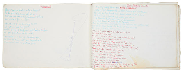Steve Marriott: a notebook containing lyrics and other notes, circa 1970,