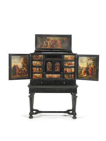 A 17th century Flemish cabinet on later stand.