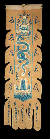 An embroidered yellow-ground 'dragon' silk banner Qing dynasty