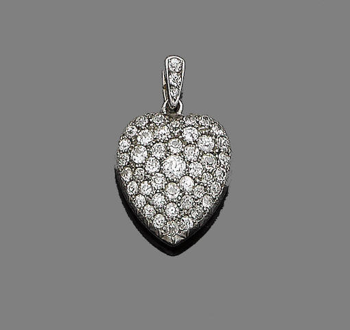 A late 19th century diamond heart locket