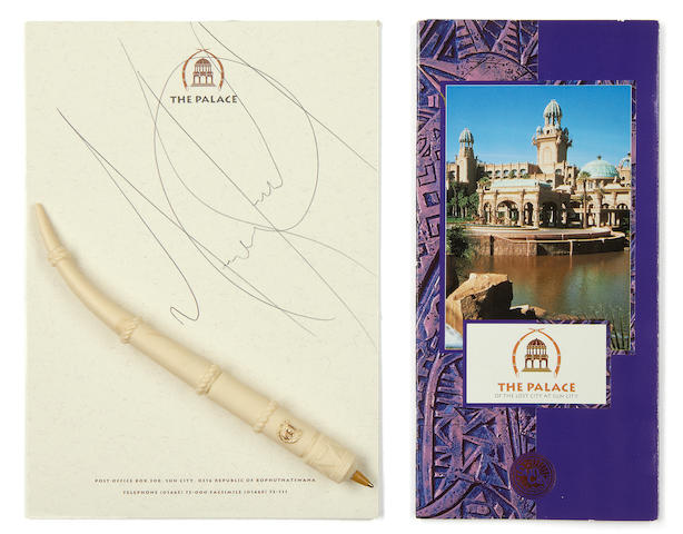 Michael Jackson: An autographed hotel notepad,