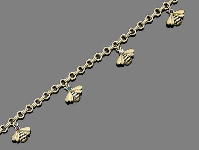 An enamel and gem-set 'Abeille' bracelet,  by Cartier