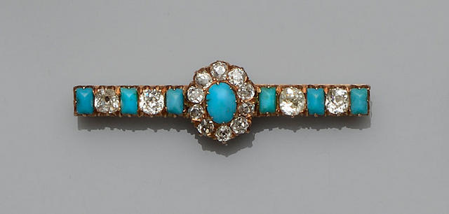 A turquoise and diamond bar brooch