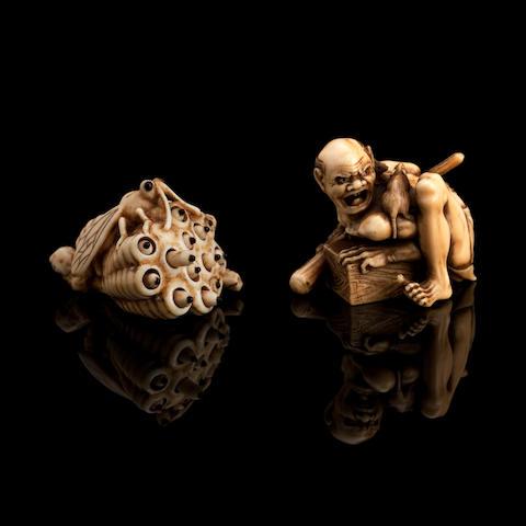 An ivory netsuke and an ivory okimono Meiji