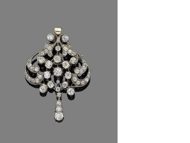 A late 19th century diamond brooch/pendant necklace (partially illustrated)