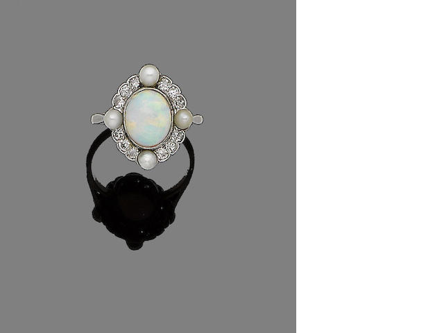 A belle époque opal, seed pearl and diamond cluster ring,