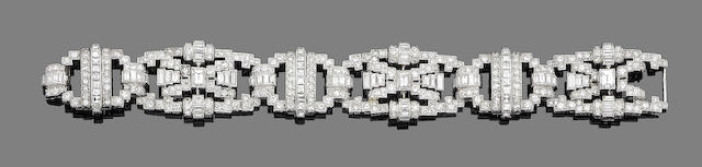 An art deco diamond panel bracelet,