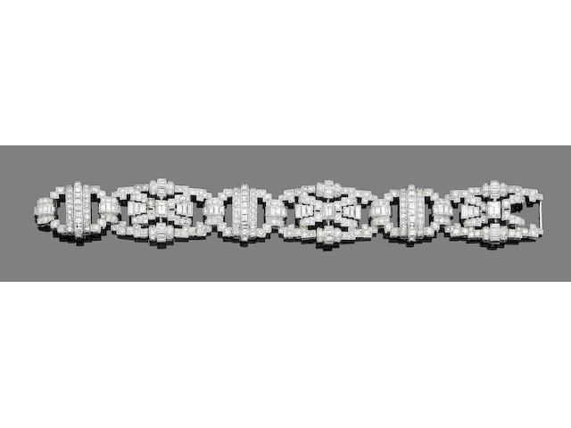 An art deco diamond panel bracelet,