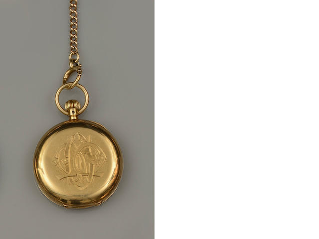 T Armstrong and Bro, Manchester: An 18ct gold half hunter fob watch with chain