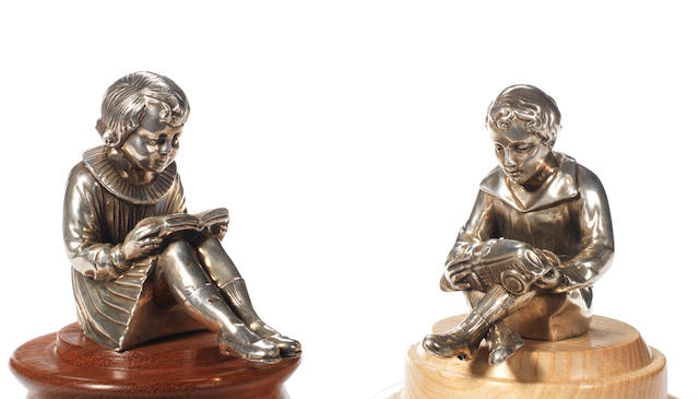 A pair of Boy and Girl figures mounted as mascots, French, 1920s,