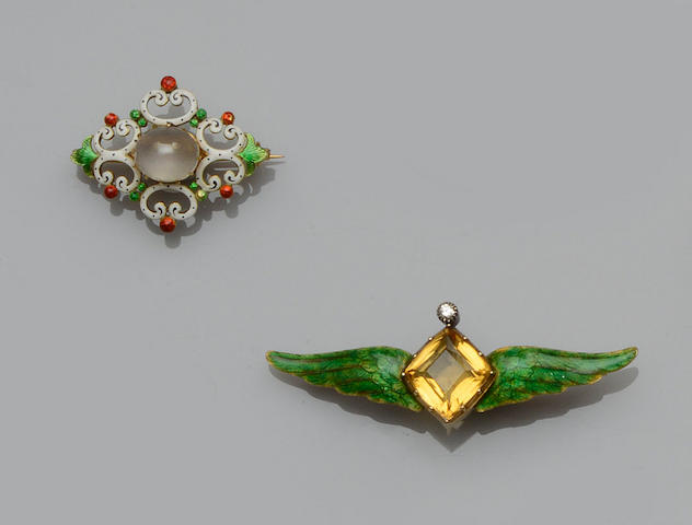 Child & Child: A gem set and enamel brooch and a moonstone and enamel brooch (2)