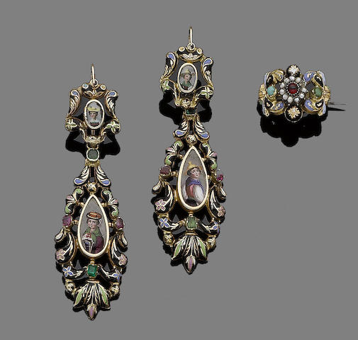 A pair of gem-set and enamel pendent earrings and brooch suite, (2)