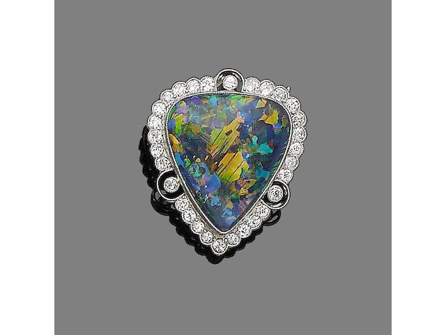 An opal and diamond brooch