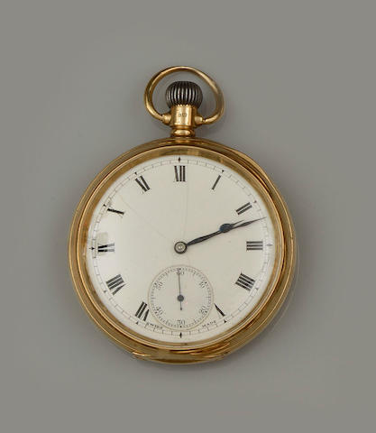 An 18ct gold open faced keyless wind pocket watch