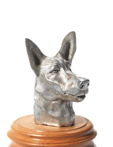 An Alsatian's Head mascot, by Asprey, British, 1930s,