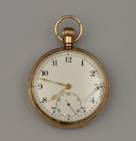 A 9ct gold open face keyless wind pocket watch(5)