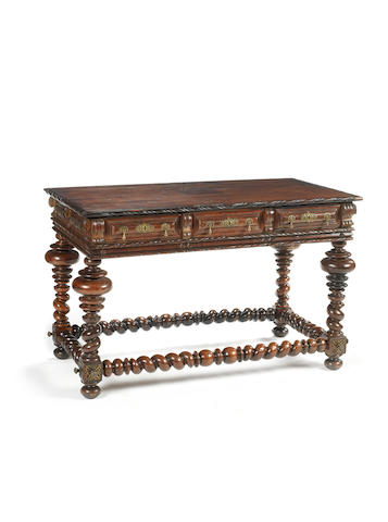 A Portuguese 19th century, Baroque style, brass-mounted rosewood library table