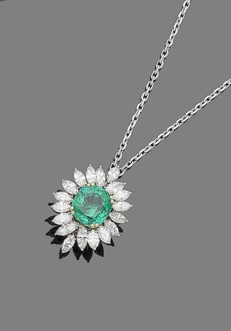 An emerald*** and diamond pendant necklace