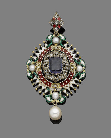 A gold and gem-set pendant,