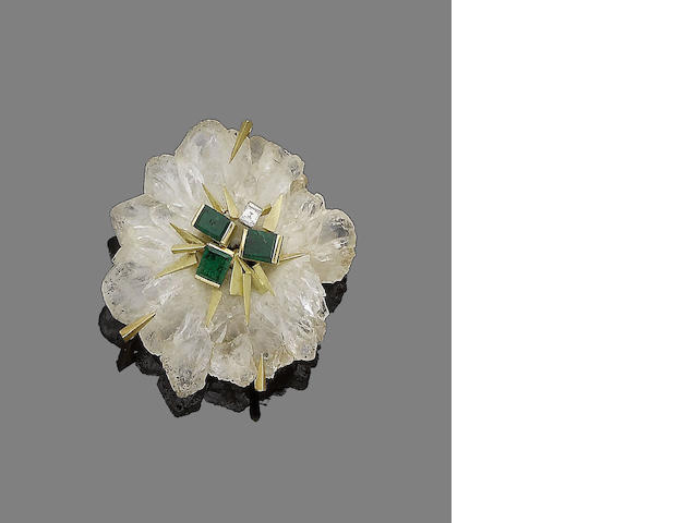 A rock crystal, emerald and diamond flower brooch, by Andrew Grima,