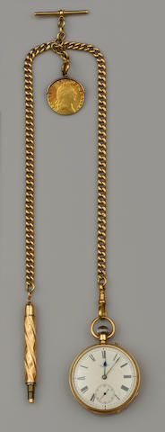 J W Benson: An open face pocket watch and an 18ct gold Albert chain with spade guinea pendant (2)