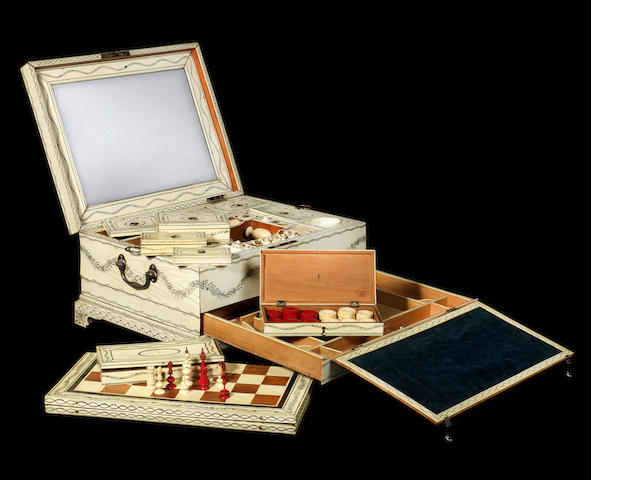 A late 18th century Vizagapatam ivory inlaid work and games box