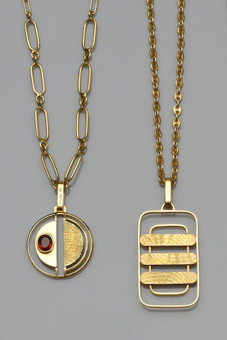 Two Italian yellow precious metal pendant necklaces