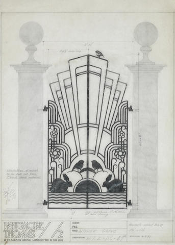 Paul McCartney: An original concept design for his home entrance gates, dated 1977,