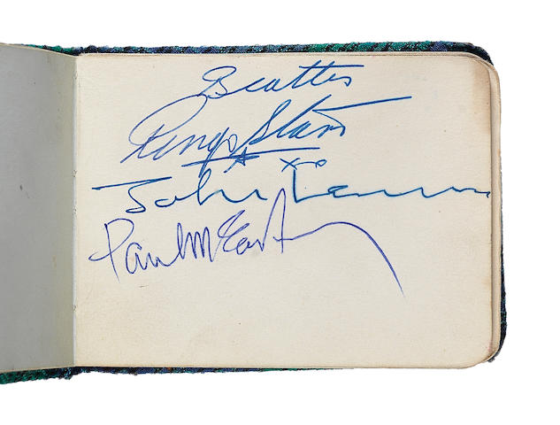 The Beatles: An autograph book signed by three of the Beatles and others, 1960s,