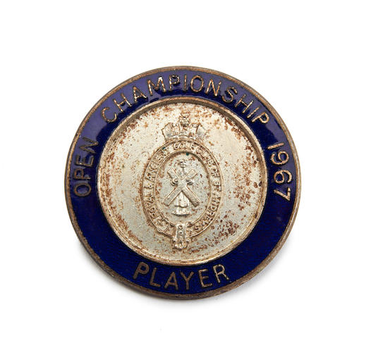 Royal Liverpool: John Panton's 1967 Open Championship Player's blue and silver badge