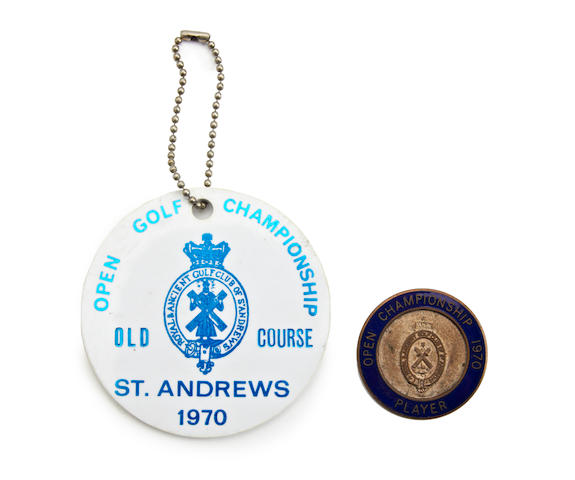 St. Andrews: John Panton's 1970 Open Championship Player's blue and silver badge