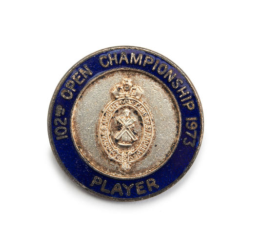 Royal Troon: John Panton's 1973 Open Championship Player's blue and silver badge