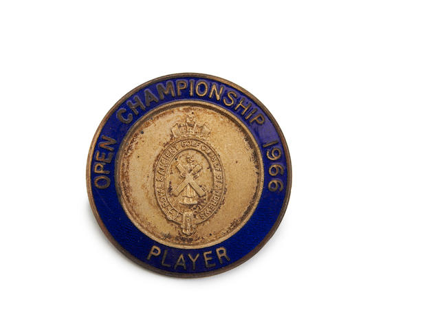 Muirfield: John Panton's 1966 Open Championship Player's blue and silver badge.