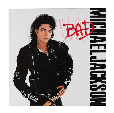 Michael Jackson: an autographed copy of the vinyl album 'Bad',