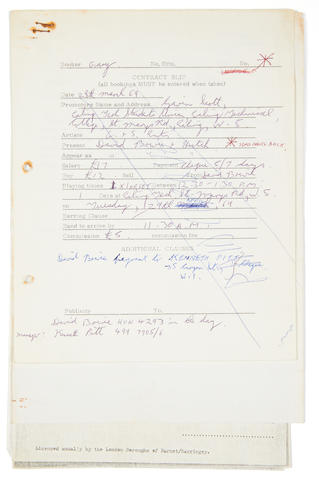 David Bowie: An early appearance contract for 'David Bowie & Hutch' with related letter signed by David Bowie,  dated March 1969,4