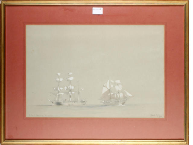 Calvert A Jones (1804-1877) 'H.M.S. Enterprise' Together with a companion painting<BR />'H.M.S London and Amphira' (a pair)