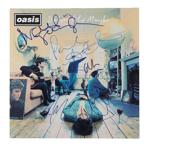Oasis: An autographed 'Definitely Maybe' album flat,