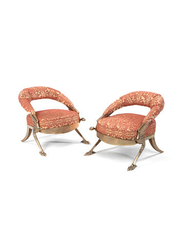 Mark Brazier-Jones A Pair of San Demas Lounge Chairs designed 1992  moulded signatures bronze with brocage upholstery  Height: 76 cm. 29 15/16 in.  This work is from an edition of 100 cast in bronze and 100 cast in aluminium.