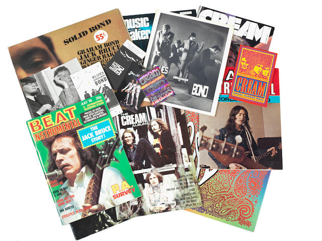 Cream / Graham Bond Organisation: A large collection of music publications the majority from the 1960s and 1970s, all featuring Cream, Jack Bruce or the Graham Bond Organisation, with publicity cards and posters for the Graham Bond Organisation,
