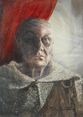 Sir John Gielgud: An original costume design/ portrait painting by June Hudson, 1995,