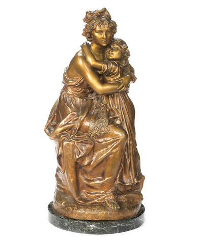 M. Charny, French (fl. late 19th / early 20th century) A patinated bronze figural group of Louise Élisabeth Vigée le Brun avec sa fille
