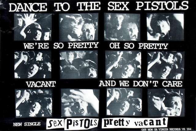 Sex Pistols: A group of posters/banners and a piece of original Press artwork, 1970s,