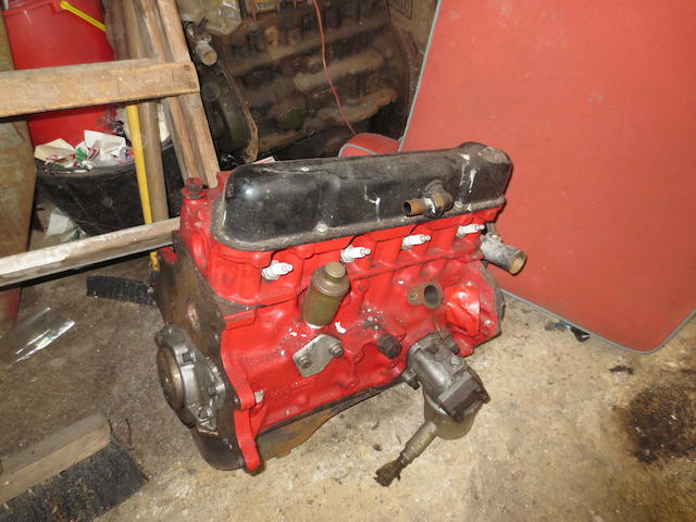 Ford 105E Engine, Appears Rebuilt, with spare block, piston, pushrods, flywheel.