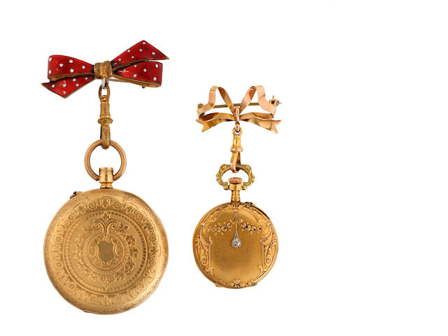 Two pocket watches and chain and a fob watch (3)