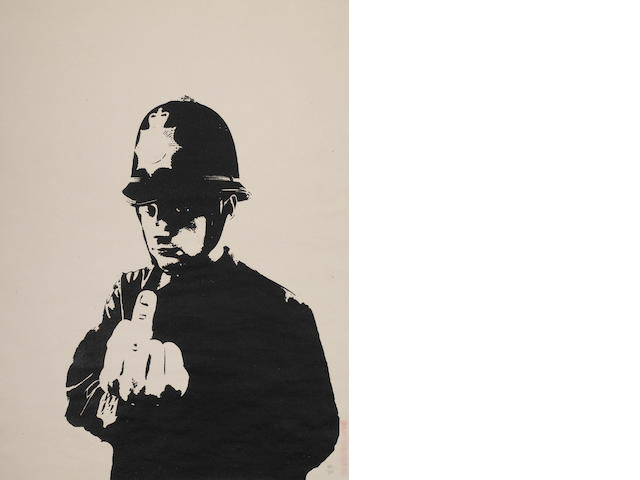 Rude copper   a signed Banksy screen print edition no 250   Number 160
