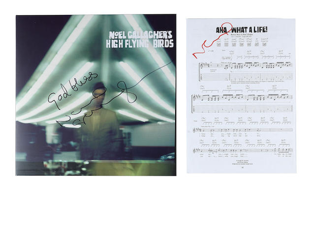 Noel Gallagher's High Flying Birds: an autographed copy of the eponymous album, with 10 corresponding autographed song sheets, 2011,