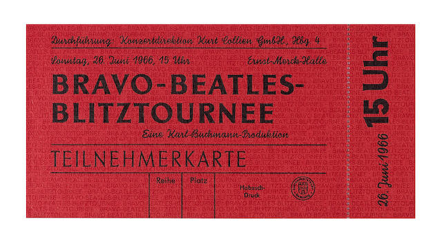 The Beatles: a  menu card from the Beatles' tour  train and Press ticket, Germany, March 1966,