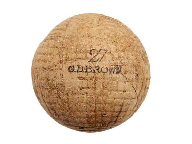 A G. D. Brown hand hammered gutta-percha golf ball circa 1870s